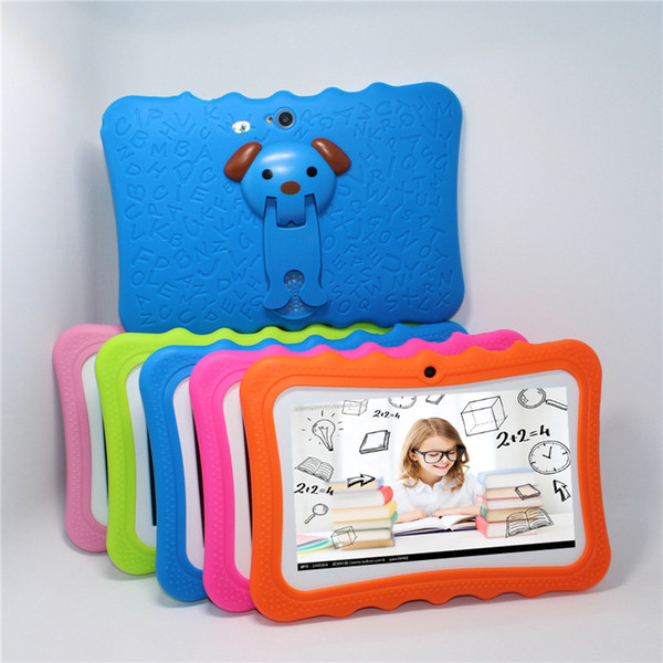 top popular Q8 Kids Tablet 7 inch 512MB RAM 8GB ROM Allwinner A33 Quad Core Android 4.4 Children Student Tablets WiFi Camera Christmas Gifts With Case 2021