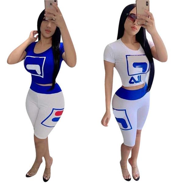 Kadınlar marka Tasarımcısı Eşofman Yaz Kısa Kollu Tişört + tozluk Şort 2 Parça Set Kıyafeti Kadın Tayt Spor Giyim C6601