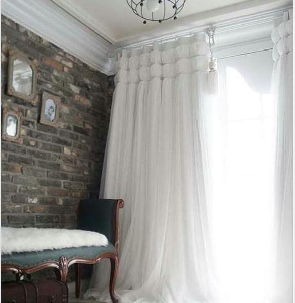 top popular Korean Princess Style white lant Window Blackout Curtains For Living room girls Bedding room Drapes Cotinas para sala decorative 2021