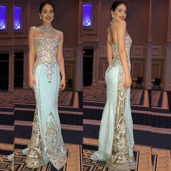 2019 Custom Made Crystal Mermaid Pageant Evening Dress Sexy Long Beaded Sheath Party Prom Dresses New Designer Occasion Gowns