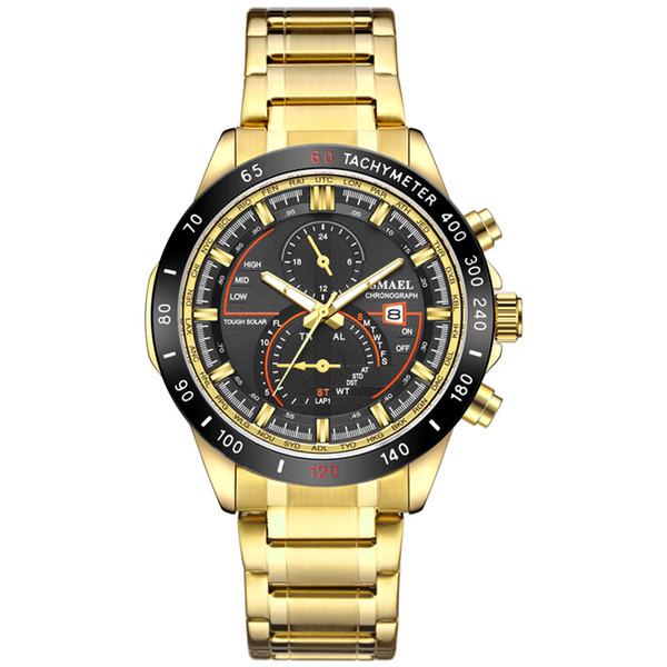 2019 mais recentes mens assistir estilo do negócio relógios homens de pulso de luxo Multifuncional Waterproof pulseira de aço inoxidável relógio de quartzo de elétrons
