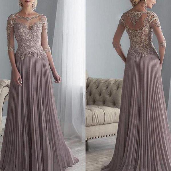 2019 Anne Gelin Elbiseler Bir Çizgi Jewel Dantel Aplike Şifon Düğün Konuk Elbiseler Kat Uzunluk Yarım Kollu Akşam Parti törenlerinde
