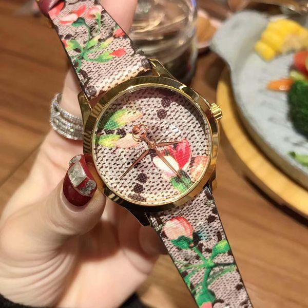 Top Designer de Luxo Mulheres Relógio De Pulso Gci tema da flor Orso moda cinta de lona de Gerânio impressão Relógios Das Mulheres gc