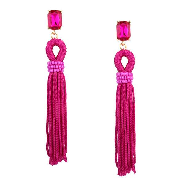 Bohemian Style Crystal Long Rope Tassel Earrings Big Women Party Statement Drop Earrings Jewelry