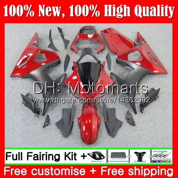 Cuerpo para YAMAHA YZF600 YZF R6 03 04 05 YZFR6 03 04 05 Caliente Rojo negro 89MT6 YZF 600 R 6 YZF-R600 YZF-R6 2003 2004 2005 Fairing Body Kit