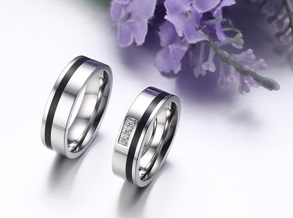 2Pcs 6mm Matching Ring Set for Women Men Lover Stainless Steel Cz Diamonique Fashion Wedding Band Couple Rings in Comfortable Design CR-108