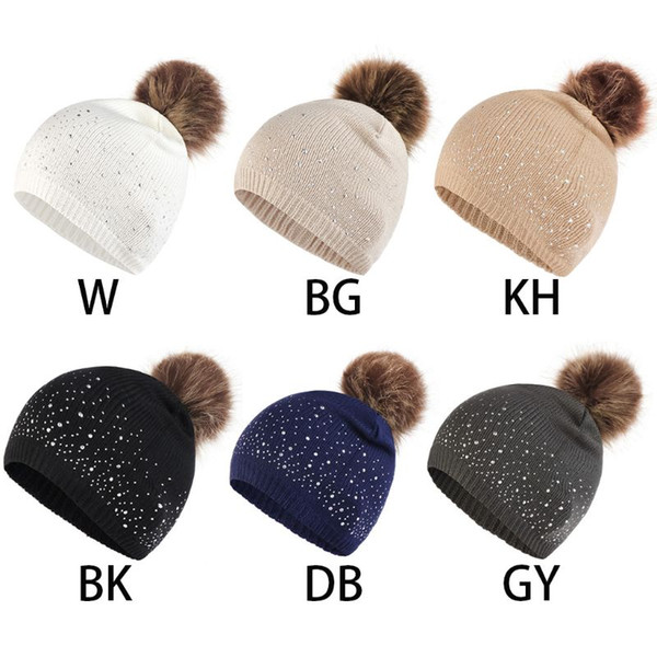 Women Winter Retro Vertical Ribbed Knitted Chemo Hat Luxury Glitter Rhinestone Embellishment Baggy Beanie Cap Fluffy Pompom