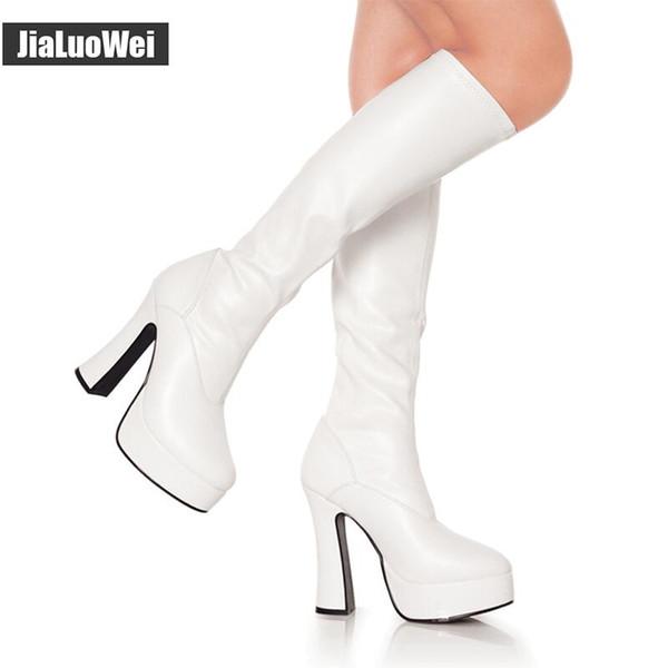 Acquista 2018 New Fashion FUNTASMA EXOTICA 2000 4 Chunky Heel Platform GOGO Stivali Donna Stivali Alti Al Ginocchio Stivali In Pelle Sexy Stile
