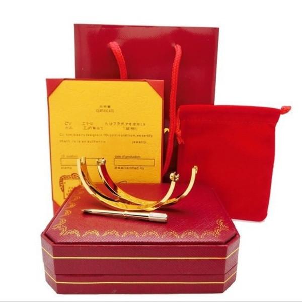 Bracelets d'amour argent or rose Titane Acier Bracelets Femmes Hommes Tournevis Tournevis Bracelet Couple Bijoux avec boite d'origine