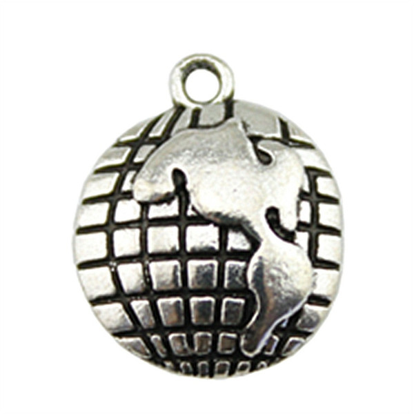 100pcs Charm Globe Globe Pendant Charms For Jewelry Making Antique Silver Globe Charms 13x16mm