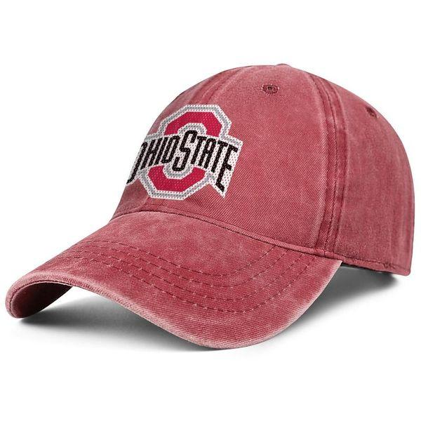 Ohio State Buckeyes Football Logo Mesh Red Men Women Denim Hats Washing Adjustable Flat Caps Design Your Own Visor Low Profile Dad Hat Trucker Hats