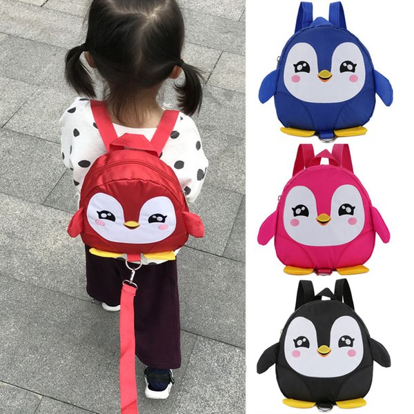 Children Kids Backpack Anti-lost Mini Lovely Cartoon Penguin Safety Harness Belt Traction Rope -shipping