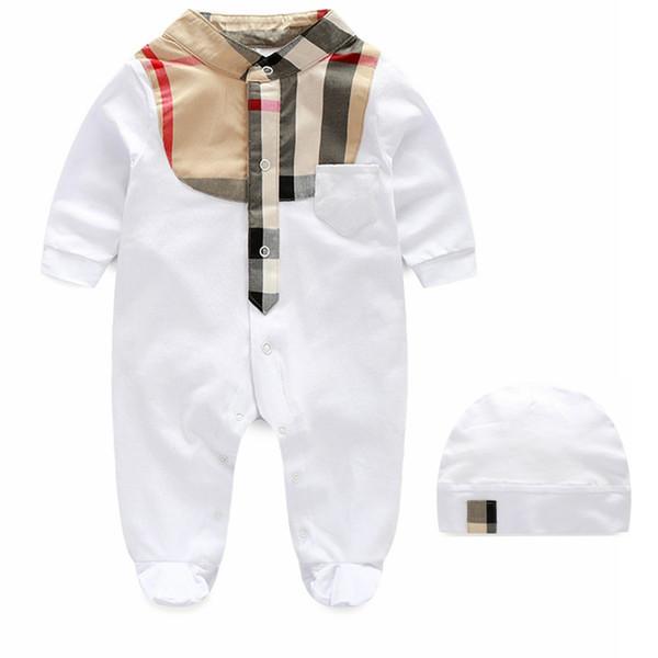 Nueva primavera bebé recién nacido de manga larga a cuadros mameluco niños ropa infantil moda mono + sombrero traje de algodón niño niños niños niñas ropa