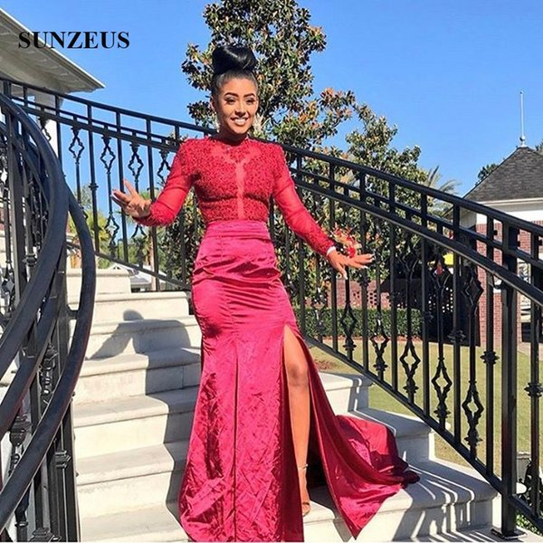 Mermaid Red Prom Gowns 2019 Appliques Illusion Bodice Open Back Party Dresses With Long Sleeves Side Slit Satin Formal Dress Robe