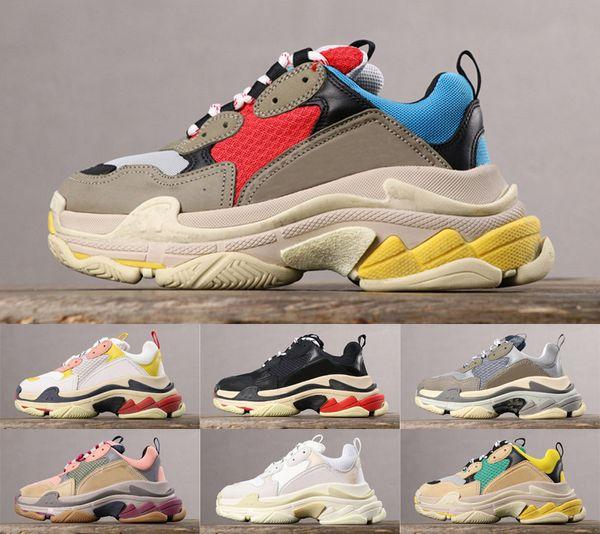 2019 Triple S Mens Дизайнер Папа Обувь Мода 17FW triple-s Женщины Повседневная Обувь Классический Бежевый Черный Белый Кроссовки Chaussures