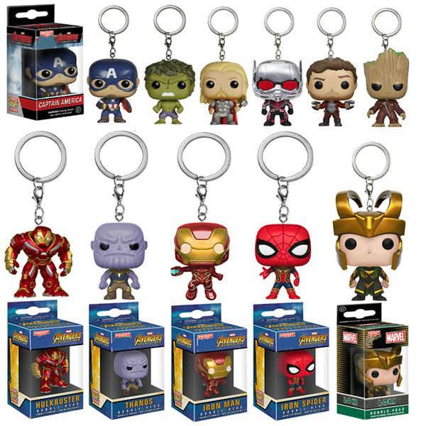 Funko POP Avengers Infinity Savaşı Hulk Iron Man Spiderman Thanos Kaptan Amerika Ant Thor Loki Grooted Eylem Anahtarlık Oyuncak T191109 Şekil