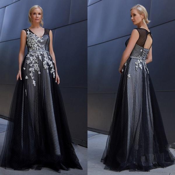 Compre Vestidos Elegantes Para La Madre De La Novia Cuello En V Una Línea Vestido De Encaje Para Boda Invitado Personalizado Talla Grande Forro