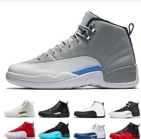 12 nouveaux hommes chaussures de basket-ball séries éliminatoires blanc noir de 12s le maître gamma bleu gymnase grippe rouge jeu chaussures de sport gris