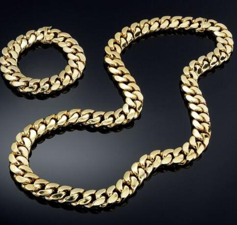 14K Gold Plated Miami Cuban Heavy Link Hip Hop Chain and Bracelet Set For Men