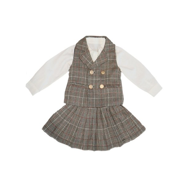 3PCS WLG girls autumn clothing set kids girl white shirt plaid vest and skirt set baby fashion clothes children 2-7 years