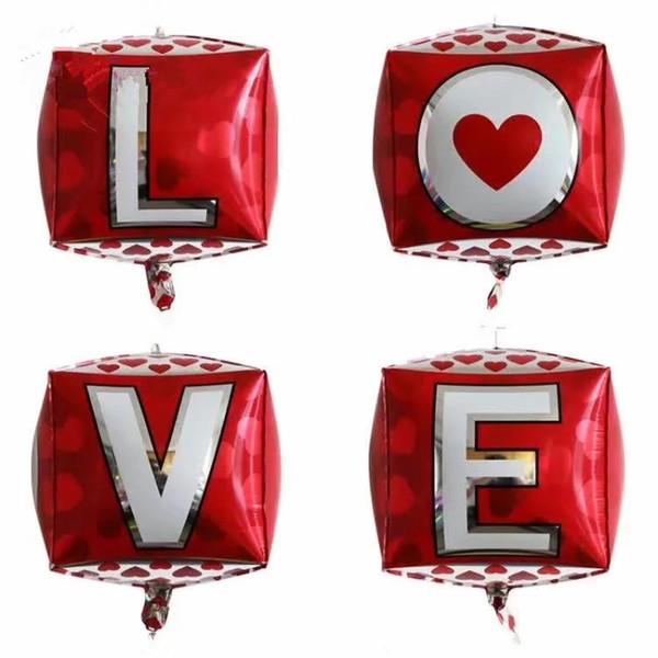 Boda 50pcs Love Letter 4D Foil aniversario globo atractivas Puntales Fotos Hot Rojo Blanco Amor de San Valentín Globos decoración del partido