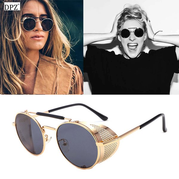 dpz 2019 Vintage Round Metal Sunglasses SteamPunk Style Side Net Brand Designer Glasses Oculos De Sol Shades UV Protection