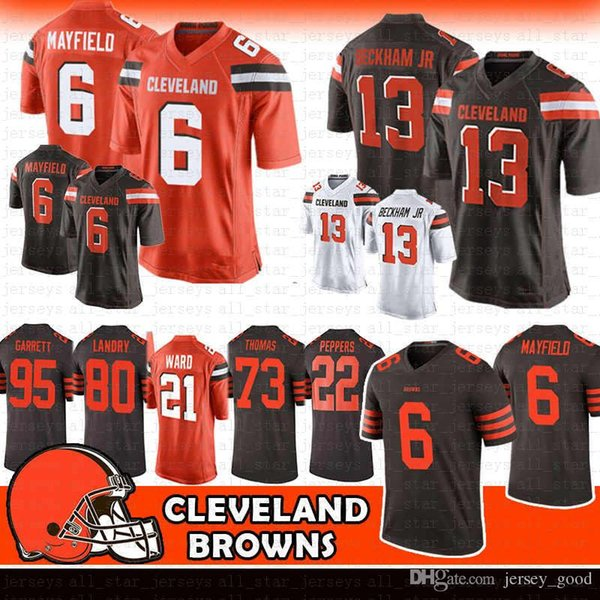 cheap for discount f5b51 ad5c3 2019 Mens 6 Baker Mayfield 13 Odell Beckham Jr Browns Jersey 80 Jarvis  Landry 95 Myles Garrett Cleveland Nick Chubb Ward Thomas Peppers Cleveland  From ...