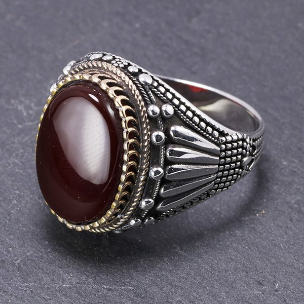 Cheap Real 925 Sterling Silver Mens Rings With Tiger Eye Natural Stones Big Vintage Rings In Fijne Sieraden Turkish Turkey Jewelry