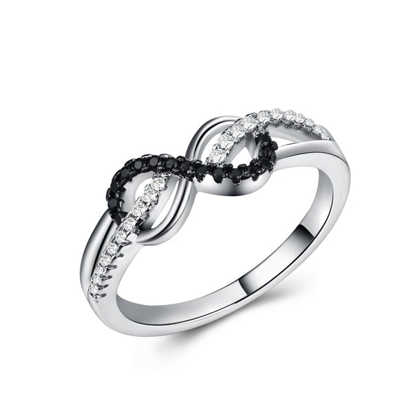 New Design hot sale Fashion Crystal Rings Black and Silver Color Infinity Ring Statement jewelry for women Jewelry