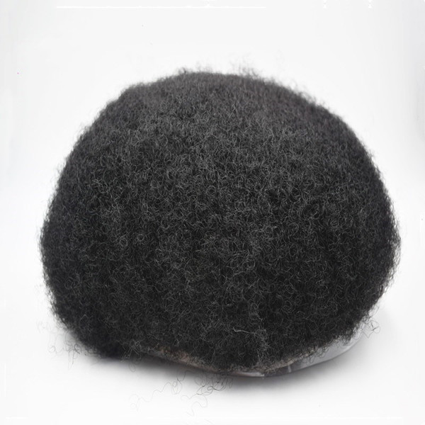 African American Wigs for Full Lace Base Jet Black Afro Hair Mens Toupee 8x10 Men Unit Systems Hair Wigs