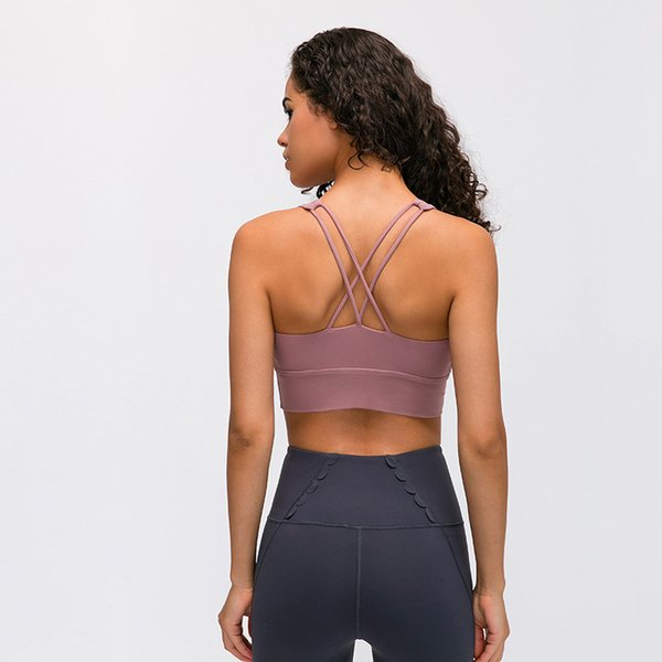 top popular lu 78 yoga sports bra Both Shoulders Shockproof Underwear Woman Gather Together Ventilation Yoga brand logo Bras 2020