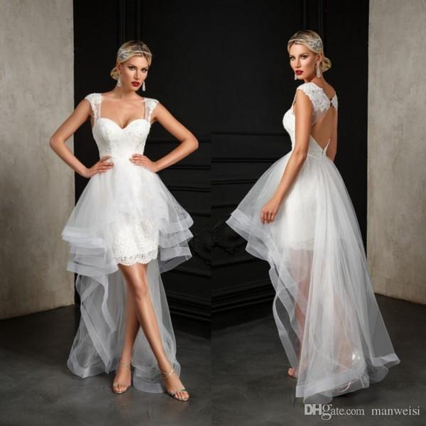 Bien Savvy Bride 2018 Beach Knee Length Wedding Dresses With Detachable Skirt Open Back Lace Appliqued Boho Bridal Gowns