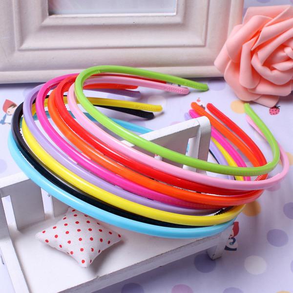5 pièces 8 mm bonbons Couleurs Bandeaux Girl Bandeau plat Hairband Artisanat en plastique en plastique Pinces à cheveux