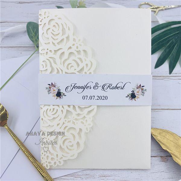 Классическое свадебное приглашение с карманом для лазерной резки цвета слоновой кости, карточкой RSVP и конвертом