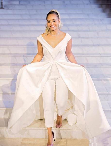 Elegant 2019 New Women Jumpsuit prom Dresses White Satin Bridal Pantskirts Gowns With Train Big V Neck Zipper Back Formal Celebrity Dress