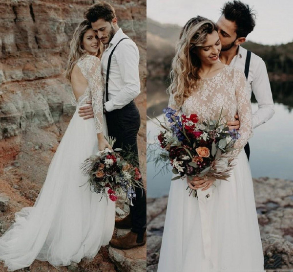 Una línea sexy boho ilusión blusa vestidos de novia de playa con mangas largas de encaje de tul más tamaño sin respaldo vestido de novia