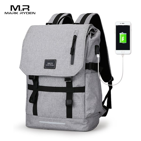 Марк Райден большой емкости 15,6-дюймовый ноутбук сумка Человек USB дизайн рюкзак сумка черный рюкзак Женская ранцы Mochila Masculina