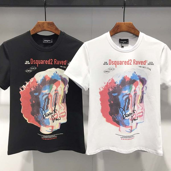 2019 T-shirt à manches courtes hommes dessin animé visage frottis blouse d'été en coton mode Slim T-shirt tendance