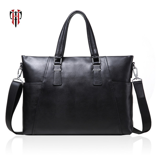 TIANHOO man bags genuine leather cow leather briefcase 14 inch laptop shoulder bag for men male hand package for work totes