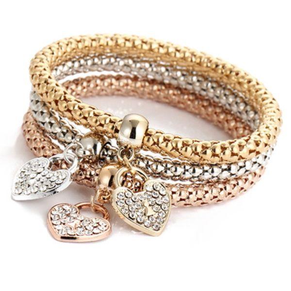 Conjuntos de brazaletes de brazaletes de encantos de corazón 3PCS Cadena de palomitas de maíz de oro rosa y rosa Corazón de amor Colgantes de diamantes de imitación pulseras para las mujeres Joyería Regalos