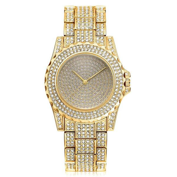 Bracelet en acier classique montre de diamant de mode montre à quartz de luxe Design plaqué or pour femme cadeaux robe de mariée