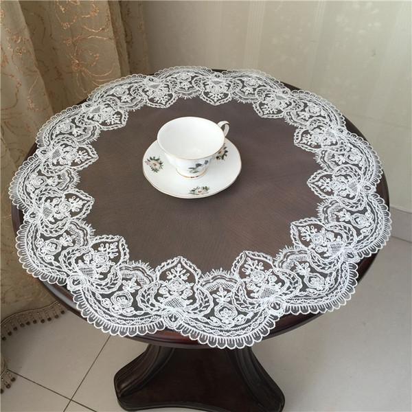 Círculo de encaje hecho a mano tela moldeada paño de tabla transparente de lujo mantel cubierta toalla balcón tapetes boda banquete decoración