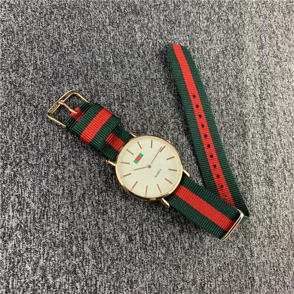 New Fashion Orologio al quarzo con cinturino in nylon Cinturino a strisce rosse e verdi Orologio da polso colorato Orologi di lusso 2019 Donna Uomo Orologio militare B82703