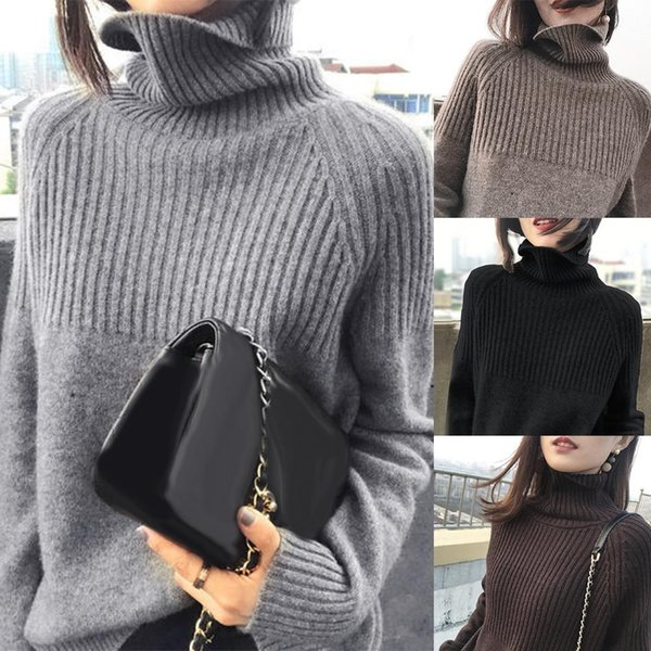 Women Sweaters Pullovers Winter Autumn Casual Long Sleeve Turtle Neck Knitted Sweater Pullover Women's Sweaters Ladies Top