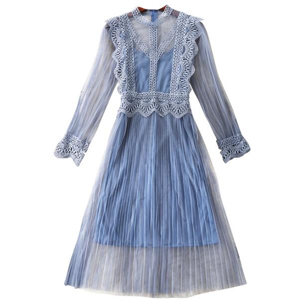 Nuevo vestido de gasa de encaje de flores de hadas azul plisado 2019 primavera otoño mujeres arnés elegante conjuntos de dos piezas de encaje vestidos Re0292
