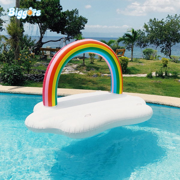 Best selling Inflatable rainbow floating water game adult swimming ring floating rainbow floated bed