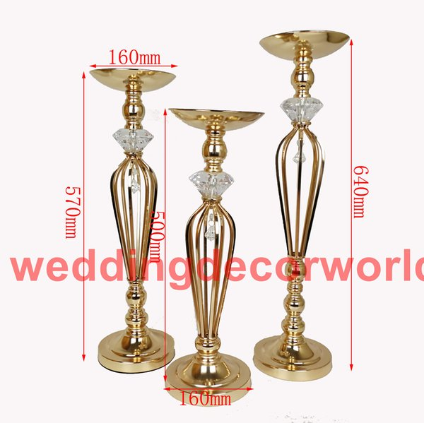New style Gold Flower Vase With Crystal acrylic Wedding Flower Vase Holders Table Centerpieces Candlesticks For Party Home Decor decor123
