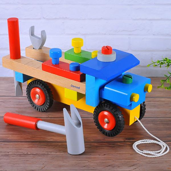 Smontaggio di giocattoli educativi per bambini Combinazione di smontaggio dado per dadi Carrello per attrezzi Giocattoli educativi per bambini in legno per bambini