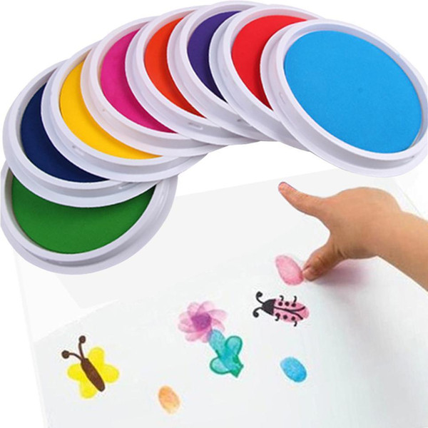 top popular Large Round coloring box DIY Ink Pad Stamp Finger Draw Painting Graffiti For Kids Children Creativity Imagination Education toy Wholesale 2021