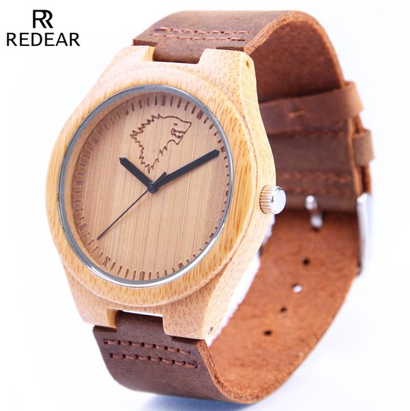 Dropship Fashion 45mm Case Ladies Bamboo Watch Bamboo Dial Carved Wolf Head Men's and Women's Quartz Wooden Watch reloj mujer